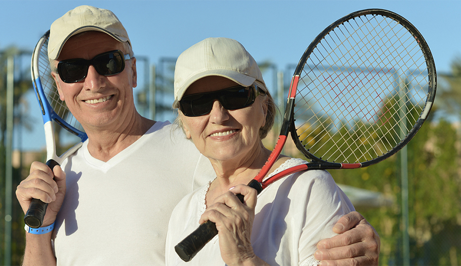 Wellness Seniors Playing Tennis Column