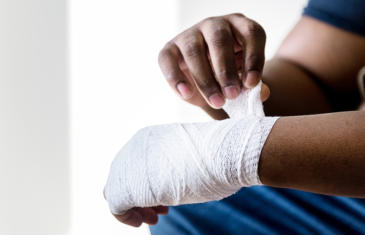 Legal Person Bandaging Hand Column