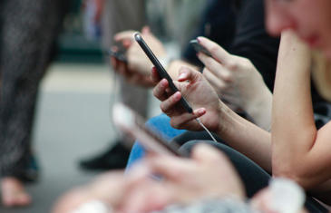Technology People Using Smartphones Column