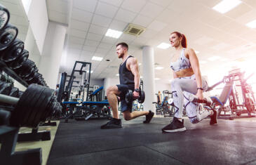 Member retention couple in gym dumbbell lunges freepik stock column