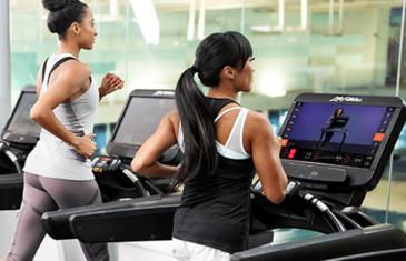 Technology Life Fitness exerciser on treadmill column
