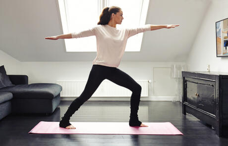 Strategy and finance wellness solutions indoor yoga workout column