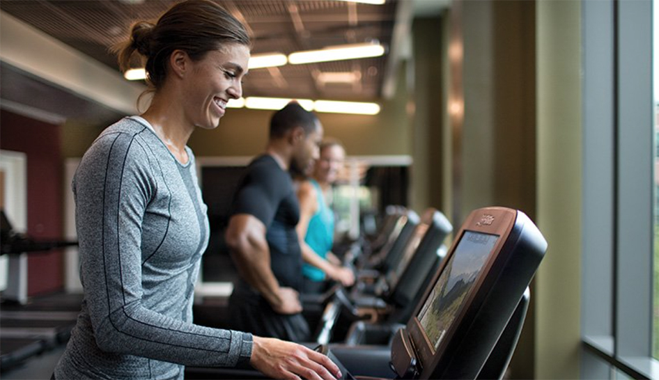 Equipment life fitness woman on treadmill column