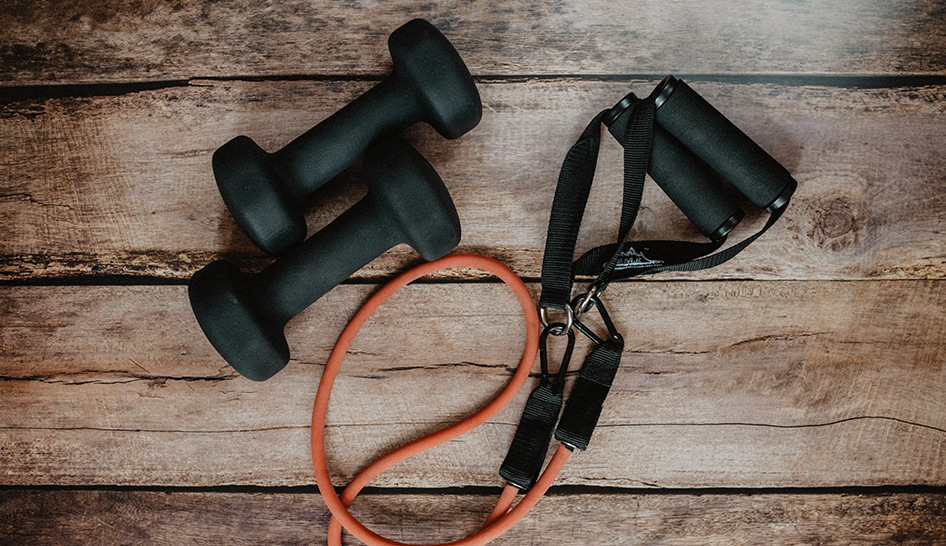 Fitness programming home workout stock column