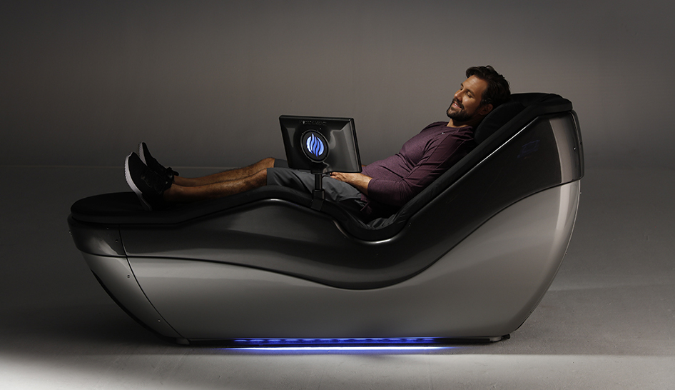 Fitness programming man using hydromassage bed column