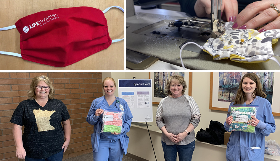 Industry news life fitness employees sewing mask column