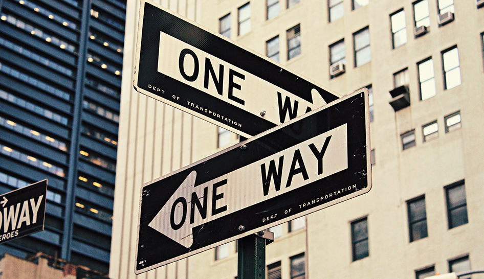 Leadership one way signs stock column