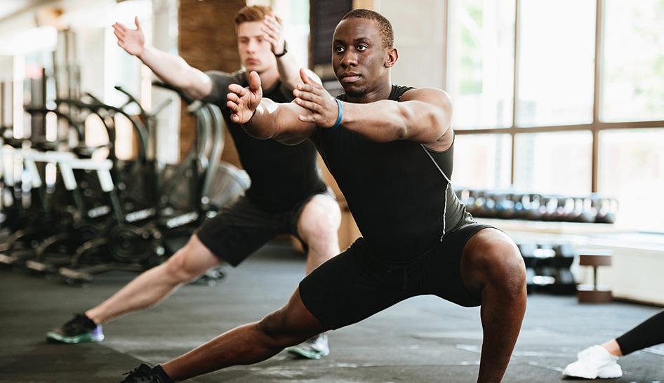Personal Training Men Exercising Tai Chi Column