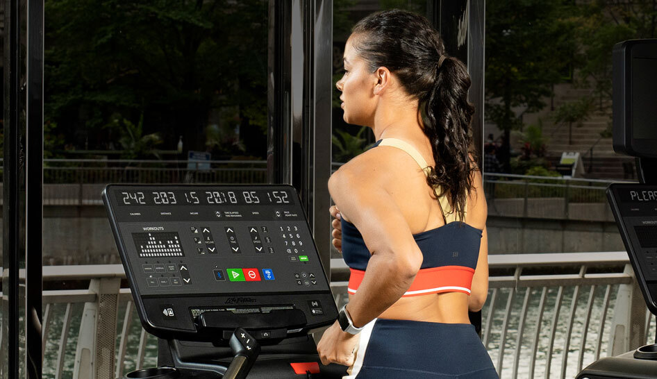 Supplier content life fitness woman exercising treadmill limited use column