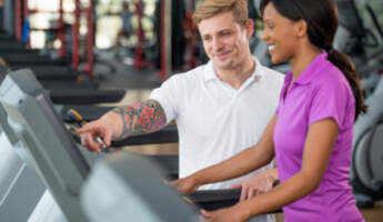 Personal Training Man Woman Treadmill