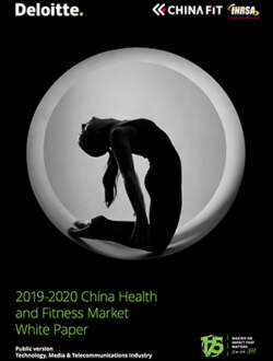 19 20 China Health Fitness Market White Paper COVER
