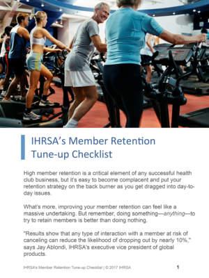 Ihrsa Member Retention Tune Up Checklist Cover